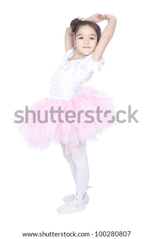 Ballerina children dancer staying on a white background