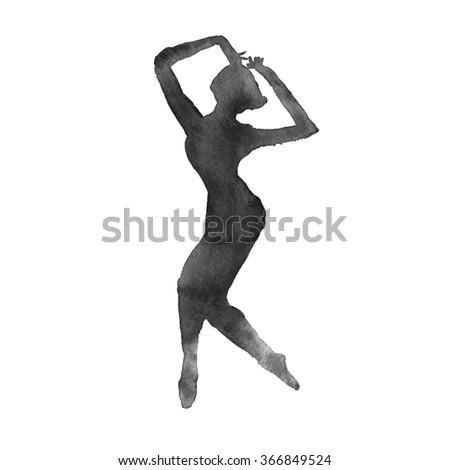 ballerina. dancer. monochrome version isolated. watercolor technique - stock photo