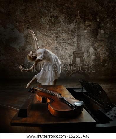 Ballerina dancing  - stock photo