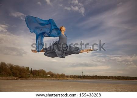 Ballerina flying - stock photo