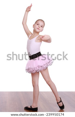 Ballerina girl dancer dancing isolated on white - stock photo