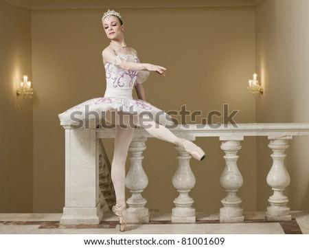 Ballerina in ballet pose - stock photo