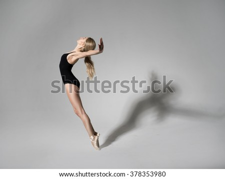 Ballerina in black outfit posing on toes - stock photo