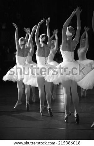 Ballerinas on the stage - stock photo
