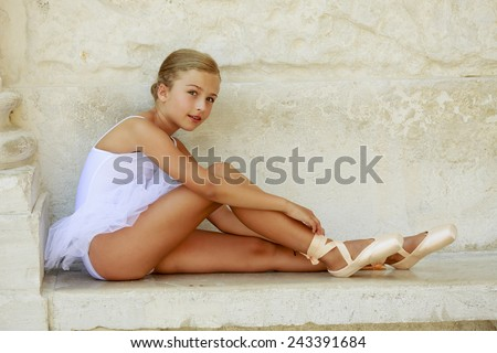 Ballet, ballerina - young and beautiful ballet dancer - stock photo