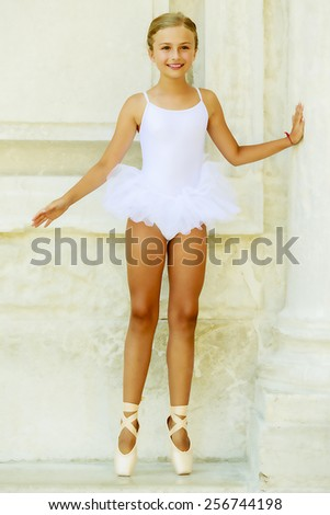 Ballet, ballerina - young and beautiful ballet dancer, portrait - stock photo