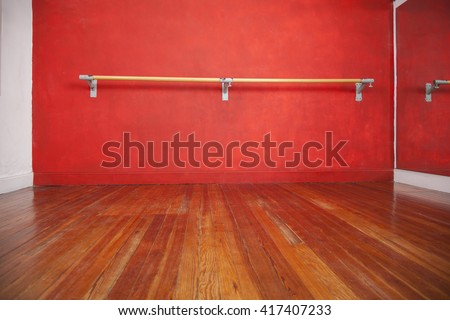 Ballet Bar Against Wall In Empty Studio