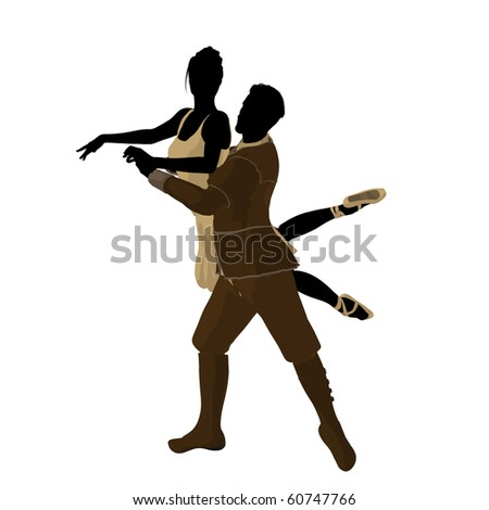 Ballet couple silhouette on a white background