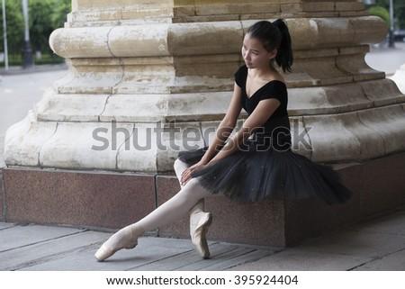 Ballet dancer (ballerina) outdoors - stock photo