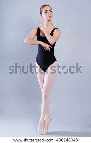 ballet dancer girl. dance of beautiful young woman  - stock photo