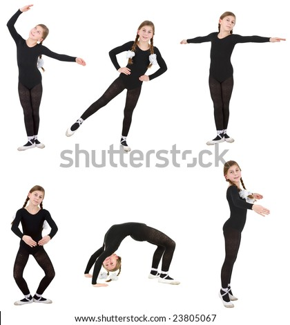 Ballet dancer girl on the white background - stock photo