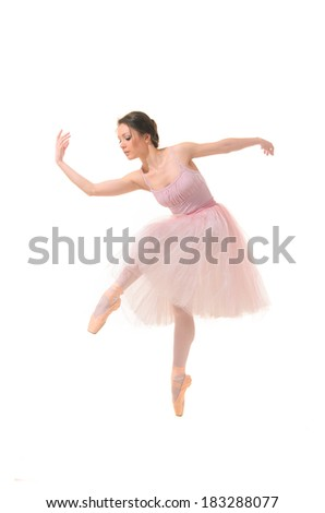 ballet dancer in a dance pose pink dress isolated on white background