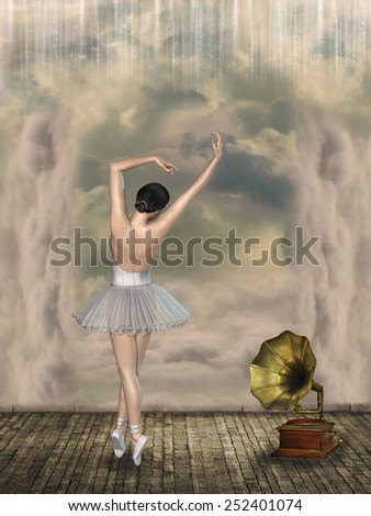 ballet dancer in a fantasy scene with phonograph