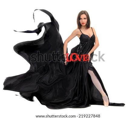 Ballet dancer in  flying dress - stock photo