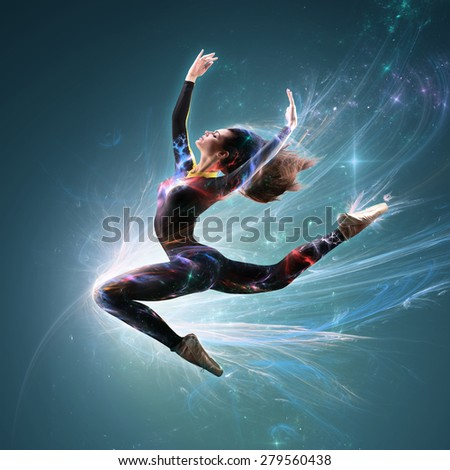 Ballet Dancer Jumping Stretch In Light Sparks With Streamed Hair - stock photo