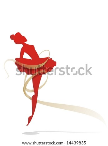 Ballet dancer with a gold tape in a white background - stock photo