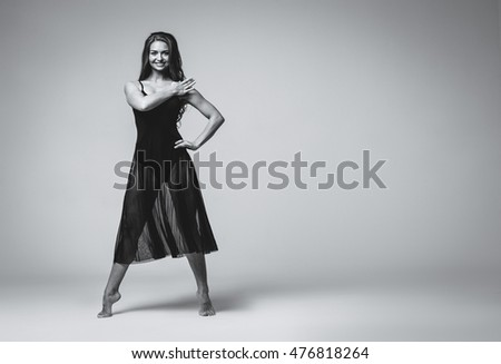 Ballet dancer woman dance black and white