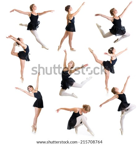 ballet dancers isolated on white set - stock photo