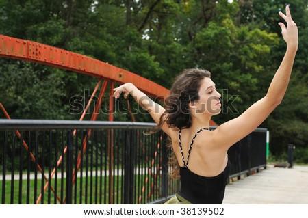 ballet on the bridge - stock photo