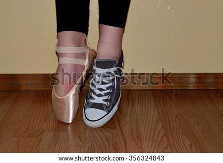 ballet shoe tennis shoe dancer wearing stock photo