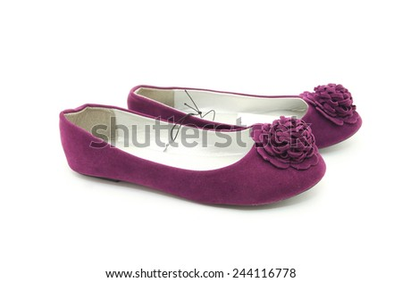 Ballet shoes in purple with rose isolated on the white