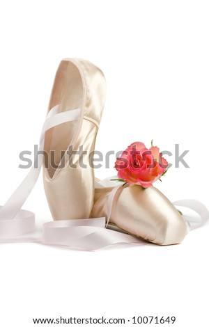 Ballet shoes with red rose on white background - stock photo