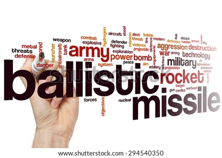Ballistic missile word cloud concept with rocket bomb related tags - stock photo