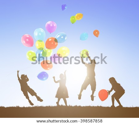 Balloon Activity Casual Cheerful Children Youth Concept - stock photo