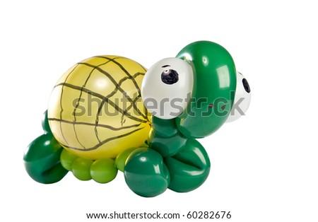 Balloon Animal turtle isolated on white - stock photo