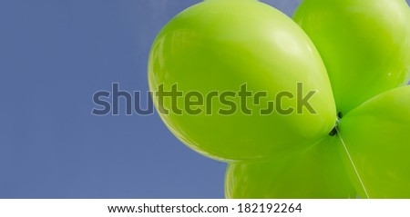 Balloon banner - Think Green environmental concept with copy space - stock photo