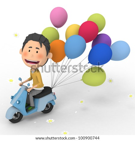 Balloon delivery - stock photo