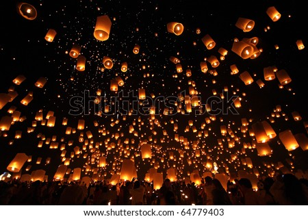 balloon fire/ yeepeng in north Thailand / chiangmai - stock photo