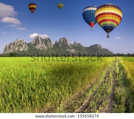 Balloon fly on Green Terraced Rice Field in Chiangmai, Thailand - stock photo