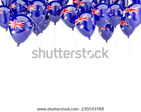 Balloon frame with flag of australia isolated on white - stock photo