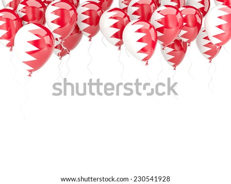 Balloon frame with flag of bahrain isolated on white - stock photo