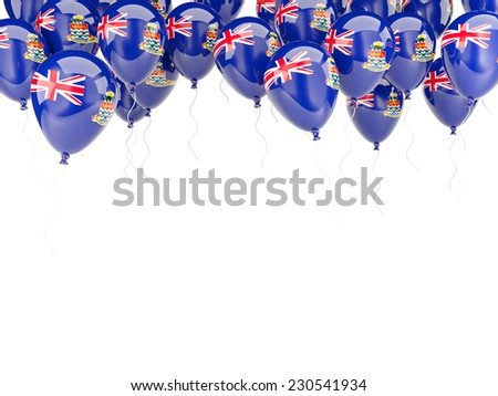 Balloon frame with flag of cayman islands isolated on white - stock photo