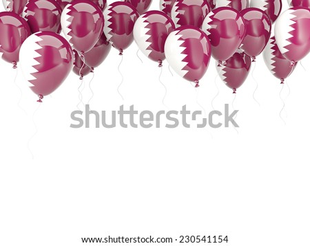 Balloon frame with flag of qatar isolated on white - stock photo