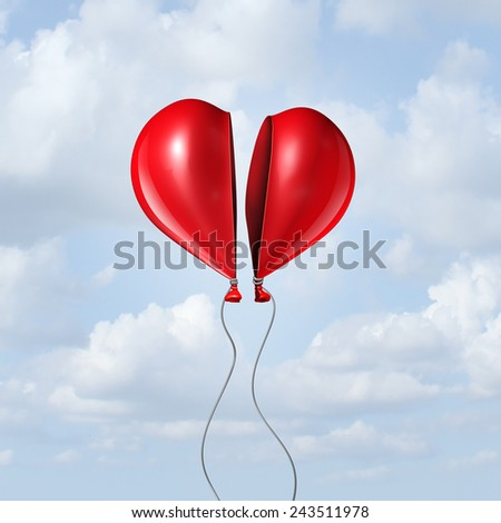 Balloon heart coming together as a valentine symbol and I love you concept with two halves of a divided helium red bubble floating in the sky creating a romantic union. - stock photo