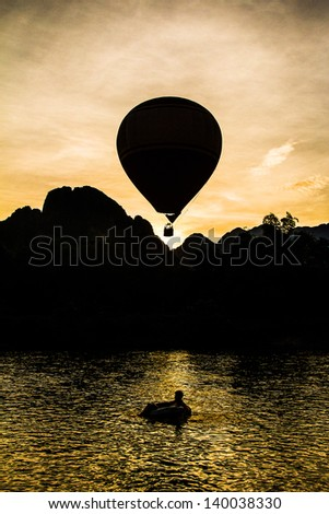 Balloon in the dawn of the day at Vang Vieng, Laos.