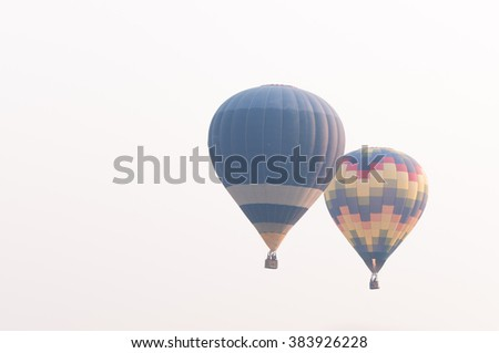 Balloon in the sky. ( sky not bright and Cloudy skies) - stock photo