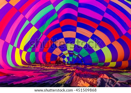 Balloon, inside view of a hot air balloon being inflated - stock photo