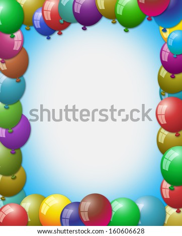 balloon making frame by filling at every corner and empty space in center - stock photo