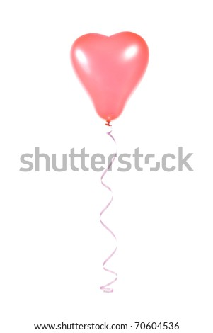 Balloon red heart-shaped, isolated on white - stock photo