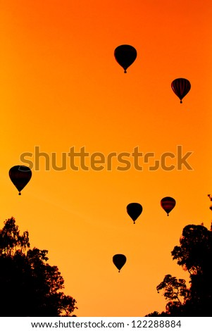 Balloon silhouettes - stock photo