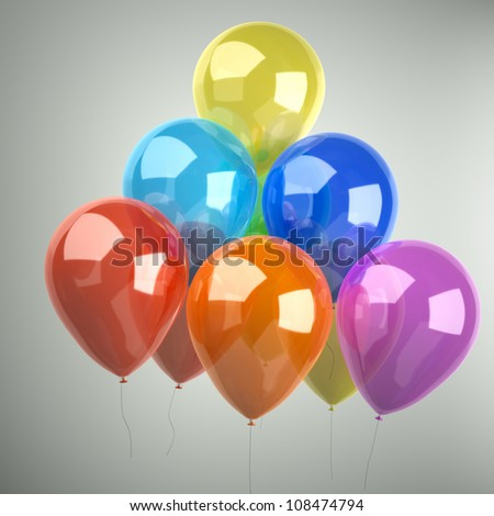 balloon studio shot, on a gray background - stock photo