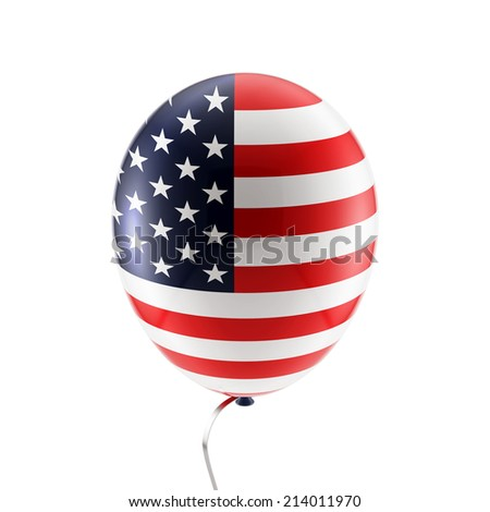 Balloon with American flag - stock photo
