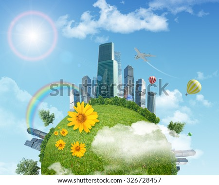 Balloon with earth and modern city on blue sky background