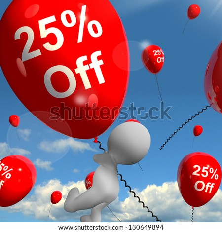 Balloon With 25% Off Shows Discount Of Twenty Five Percent - stock photo