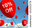 Balloon With 10% Off Shows Sale Discount Of Ten Percent - stock photo