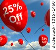 Balloon With 25% Off Shows Sale Discount Of Twenty Five Percent - stock photo